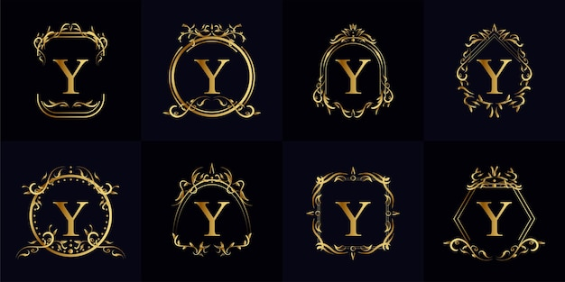 Verzameling van logo eerste y met luxe ornament of bloemframe