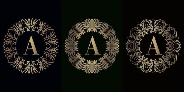 Verzameling van logo-initiaal a met luxe mandala-ornamentframe