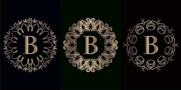 Verzameling van logo-initiaal b met luxe mandala-ornamentframe