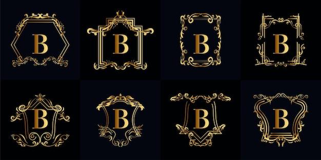 Verzameling van logo initiaal b met luxe ornament
