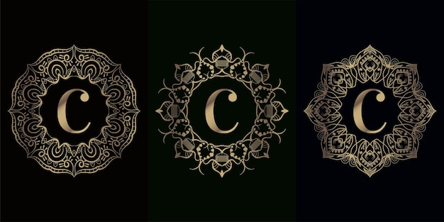 Verzameling van logo initiaal c met luxe mandala-ornament of bloem
