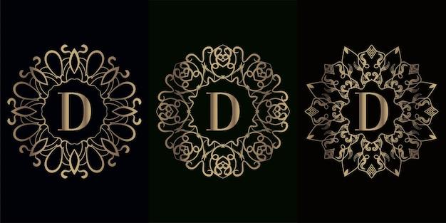 Verzameling van logo initiaal d met luxe mandala-ornamentframe