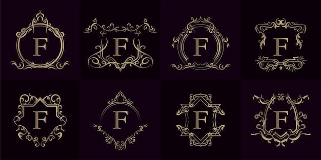 Verzameling van logo-initiaal f met luxe ornament of bloemenframe