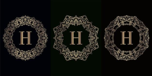 Verzameling van logo-initiaal h met luxe mandala-ornamentframe