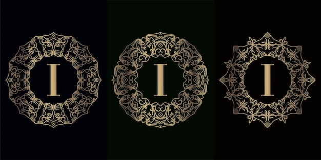 Verzameling van logo-initiaal i met luxe mandala-ornamentframe