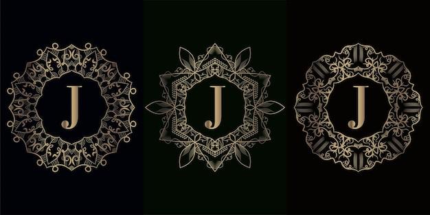 Verzameling van logo-initiaal j met luxe mandala-ornamentframe