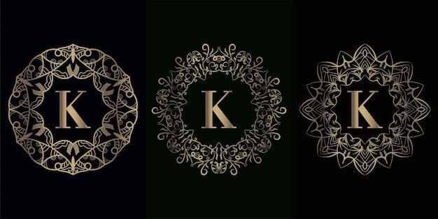 Verzameling van logo-initiaal k met luxe mandala-ornamentframe