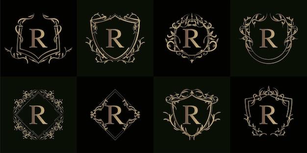 Verzameling van logo initiaal r met luxe ornament of bloemframe