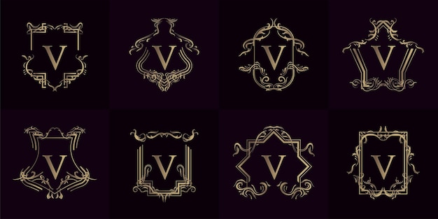 Verzameling van logo initiaal v met luxe ornament of bloemenlijst