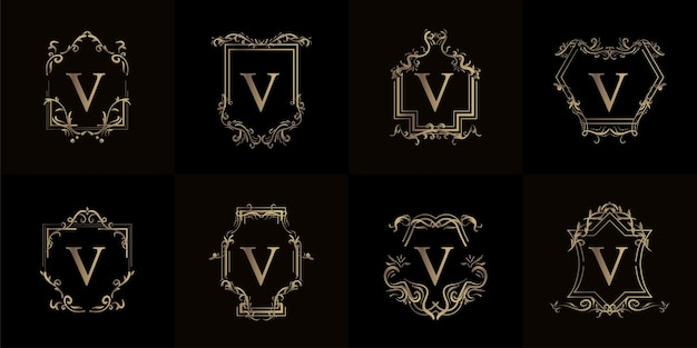 Verzameling van logo initiaal v met luxe ornament of bloemframe