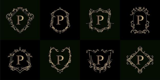 Verzameling van logo initial p met luxe ornamentframe