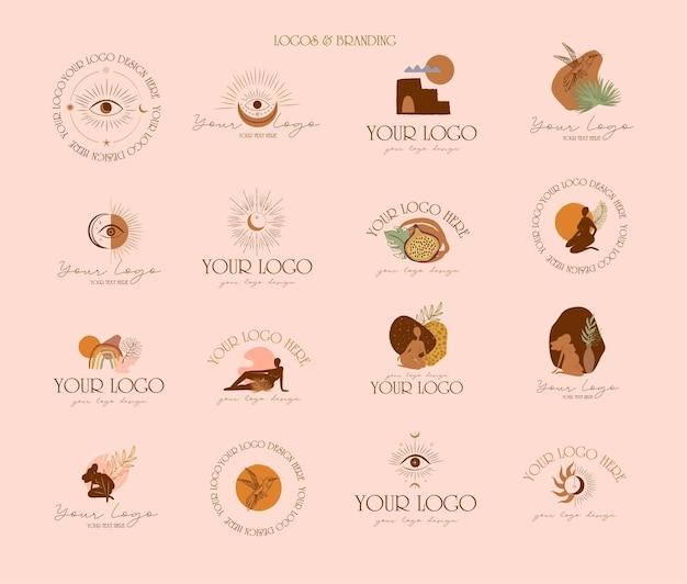 Verzameling van logo's en pictogrammen met esoterische elementen, abstracte vorm. natuur, yoga, huidverzorging, persoonlijk merk, psychologie, astrologie en esoterisch