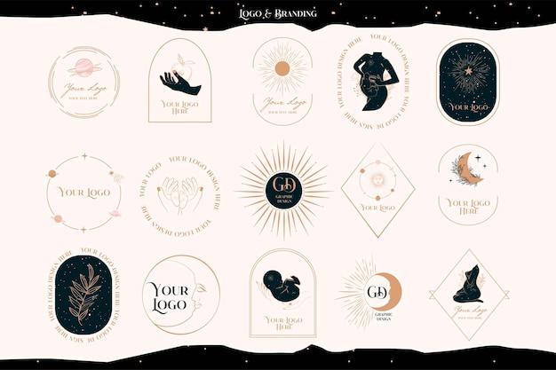 Verzameling van logo's met mystiek, astrologie-elementen, zwangere vrouw, baby, zon en maan. branding collectie.