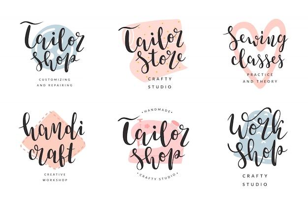 Verzameling van logo's voor kleermaker en werkplaats