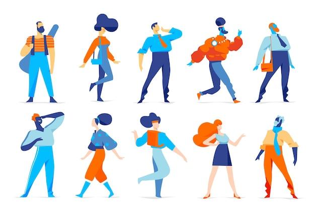 Verzameling van lopende mannelijke en vrouwelijke karakters geïsoleerd op wit