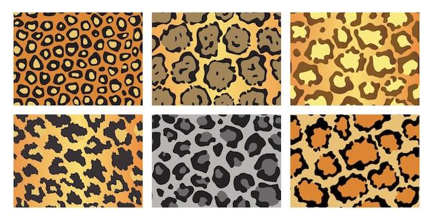 Verzameling van luipaardtexturen. naadloze prints met wilde dierenhuid.