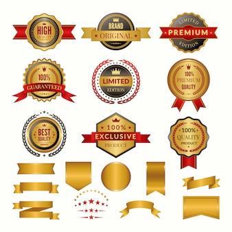 Verzameling van luxe gouden insignes en logo's.