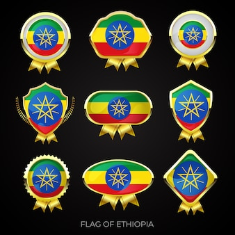 Verzameling van luxe gouden vlag badges van ethiopië