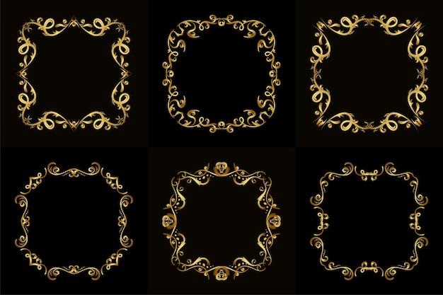 Verzameling van luxe ornament of bloemen frame
