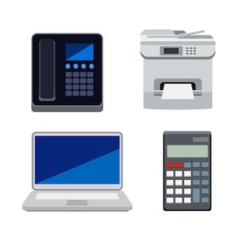 Verzameling van machines die worden gebruikt in geïsoleerde kantoren