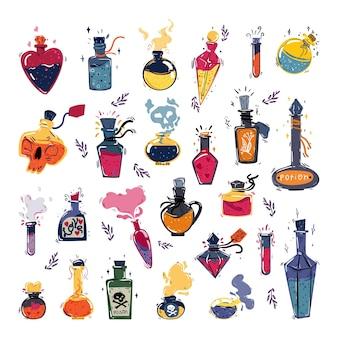 Verzameling van magische flessen met drankjes, parfum en aroma-oliën