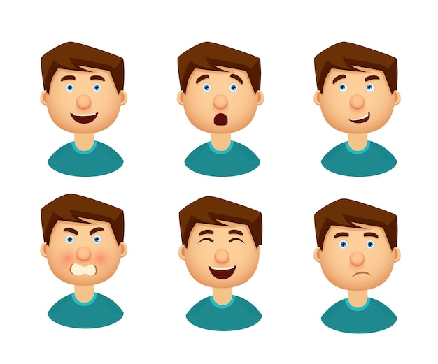 Verzameling van man met een verscheidenheid aan emoties.