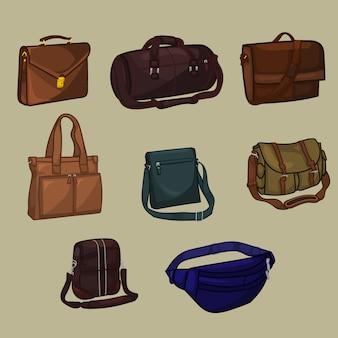 Verzameling van man's bag