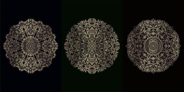 Verzameling van mandala-ornament of bloem