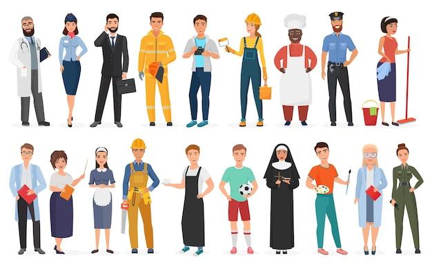 Verzameling van mannelijke en vrouwelijke arbeiders van verschillende beroepen of beroepen die een professioneel uniform dragen