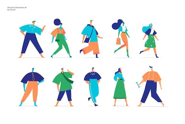 Verzameling van mannelijke en vrouwelijke personages die in verschillende posities lopen