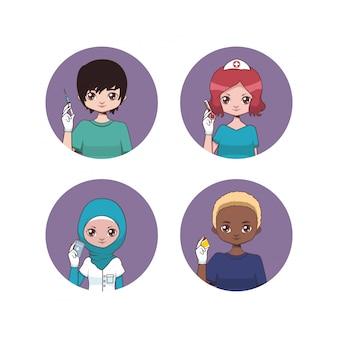 Verzameling van mannelijke en vrouwelijke verpleegkundige avatars