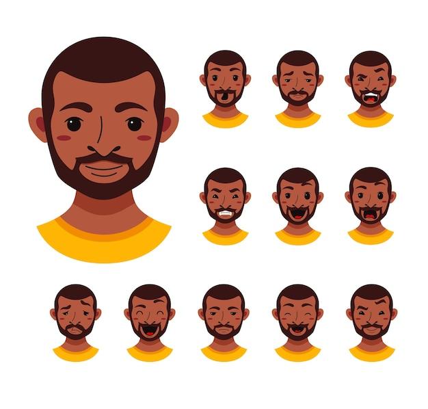 Verzameling van mannelijke gezichtsuitdrukkingen