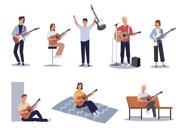 Verzameling van mannen en vrouwen die akoestische en elektrische gitaren spelen.