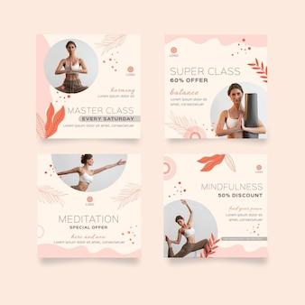 Verzameling van meditatie en mindfulness instagram-berichten