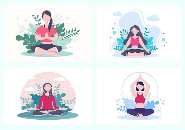 Verzameling van meisje doet yoga of meditatie
