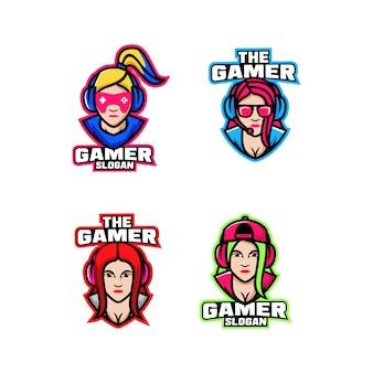Verzameling van meisje gamer karakter logo pictogram ontwerp cartoon