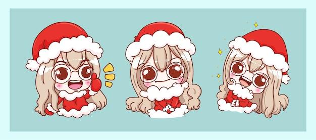 Verzameling van meisje in kerstman kostuum