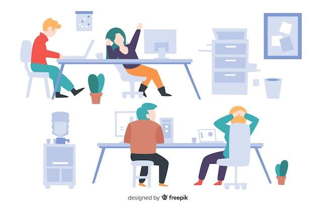 Verzameling van mensen die aan hun geïllustreerde bureaus werken