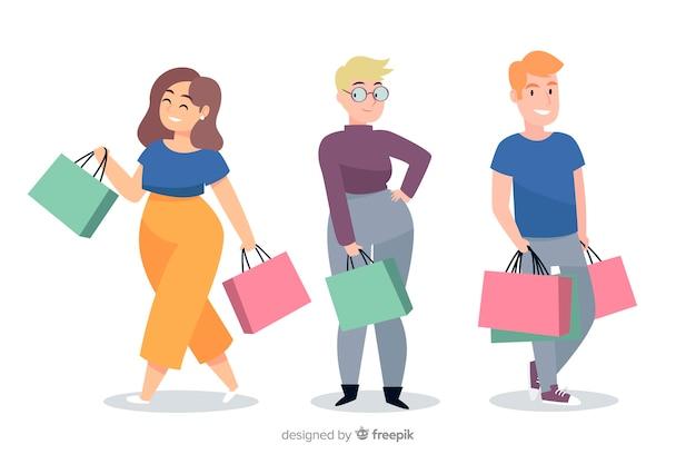 Verzameling van mensen die boodschappentassen dragen