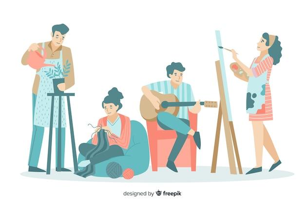 Verzameling van mensen die genieten van hun vrije tijd