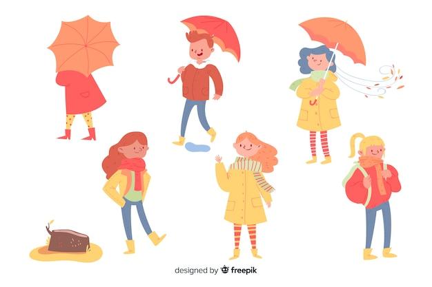 Verzameling van mensen die herfst kleding dragen