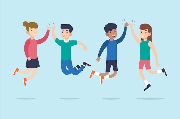 Verzameling van mensen die high five geven