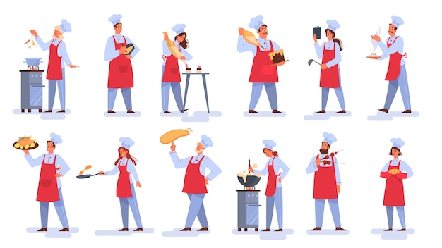 Verzameling van mensen die in schort smakelijke schotel maken