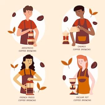 Verzameling van mensen die koffie maken