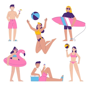 Verzameling van mensen die verschillende activiteiten op het strand doen