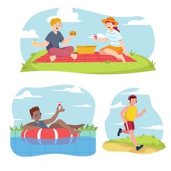 Verzameling van mensen die verschillende buitenactiviteiten in de zomer doen