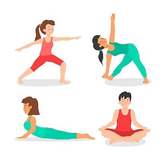 Verzameling van mensen die yoga doen