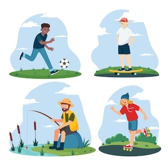Verzameling van mensen die zomerse buitenactiviteiten doen