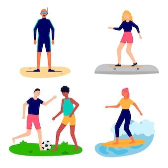 Verzameling van mensen die zomersporten spelen