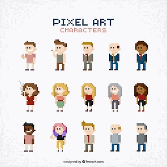 Verzameling van mensen in pixel art stijl